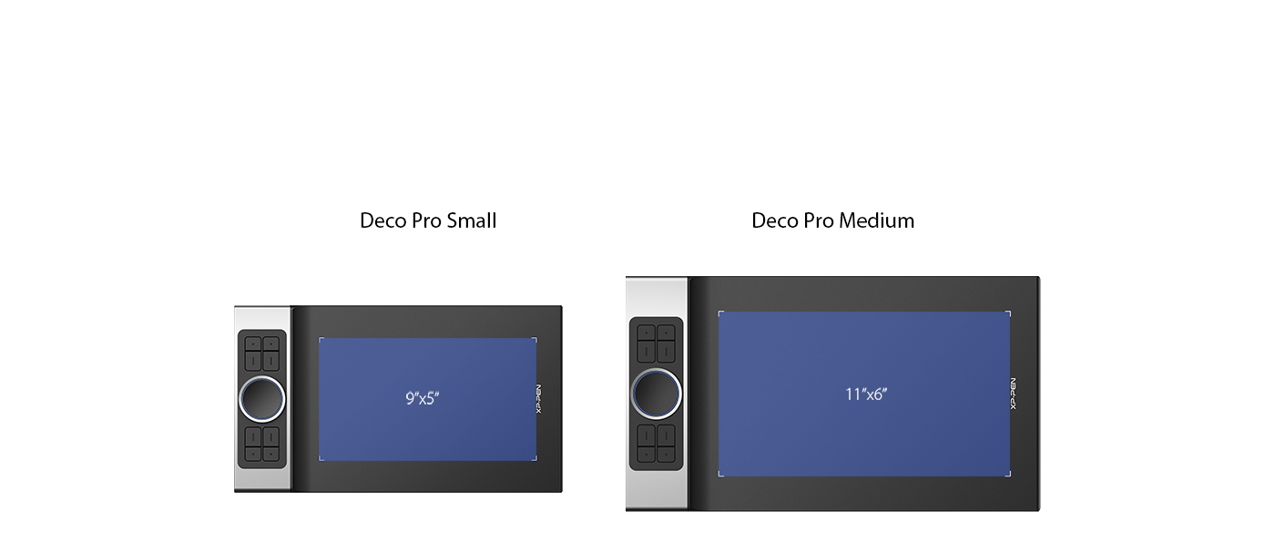 XP-Pen Deco Pro Series features a 9x5 inches and 11 x 6 inches working area